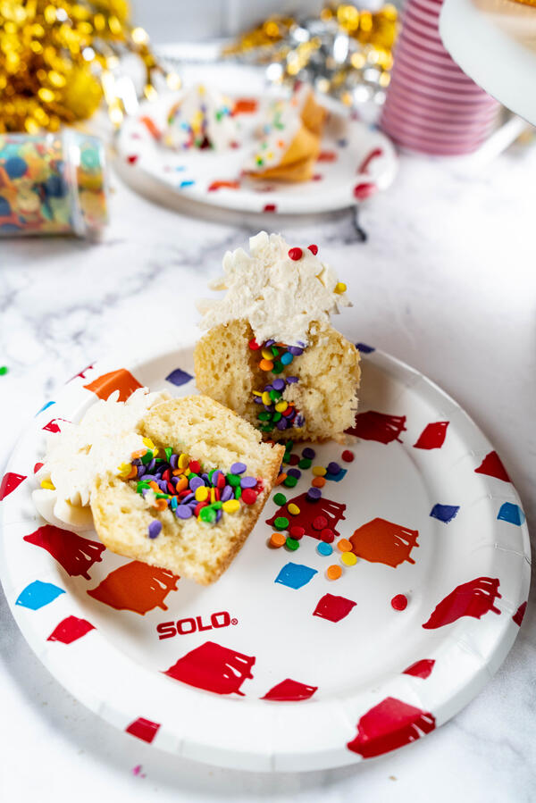 Confetti Cupcakes with sprinkles inside