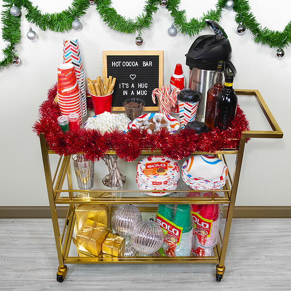 hot cocoa bar cart for the holidays